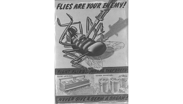 World War II poster flies with germs warning